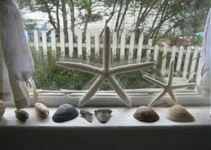shells in window 300x214 Mermaid Cottages, Tybee Island, Georgia