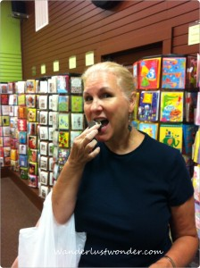 Eating chocolates at Chocolate paper 224x300 Eating our Way Around Roanoke, Virginia