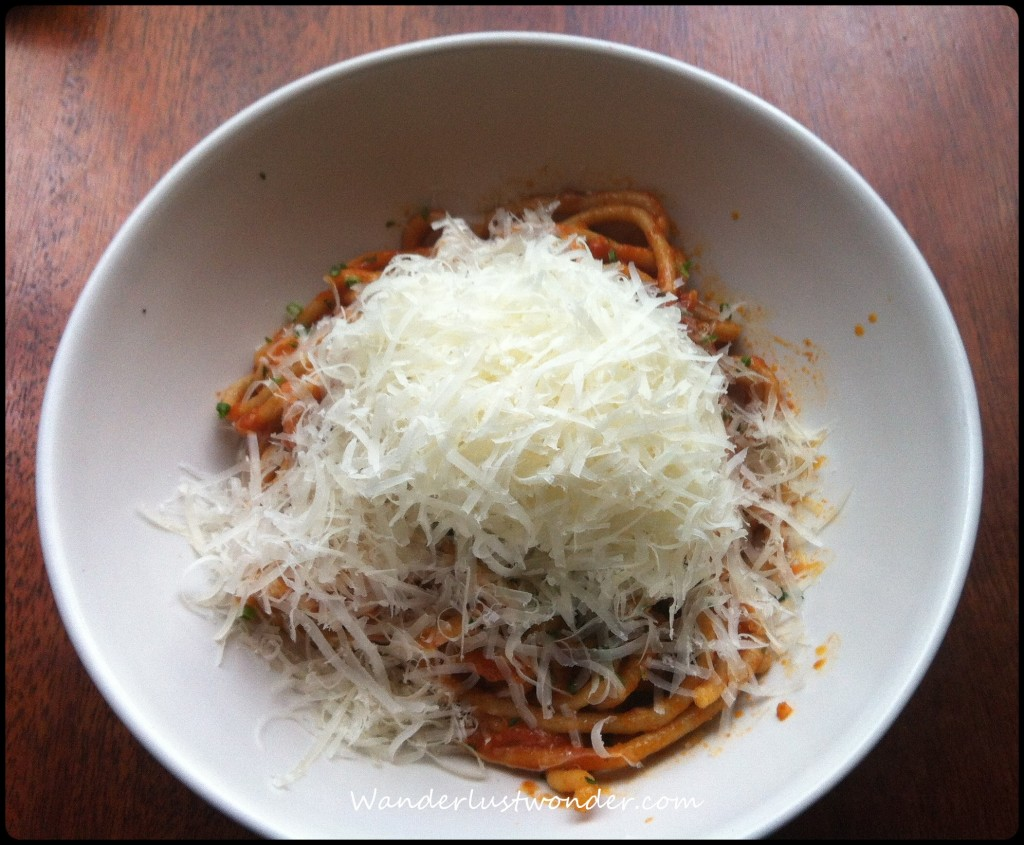 Spaghetti with tons of parmesan. As you do.