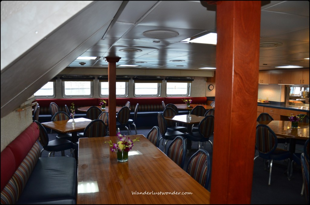 One area of the dining room on the ship.