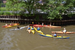 Urban kayakers on the Chicago River.