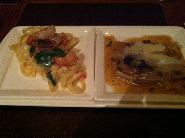 Taglioni with shrimp on the left: Veal and Truffle on the right