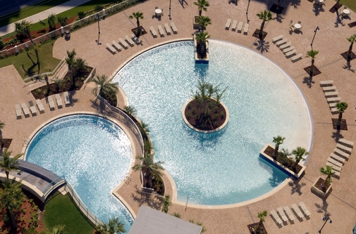 The main pool with a zero entry. Photo courtesy of the Laketown Wharf Resort.