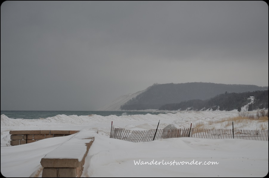 A gray, snowy day at Sleeping Bear Dunes.