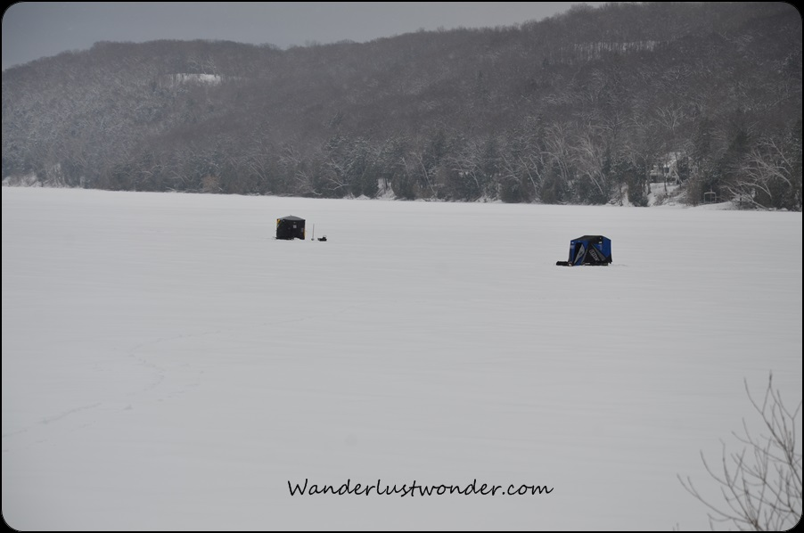 Ice fishing huts.