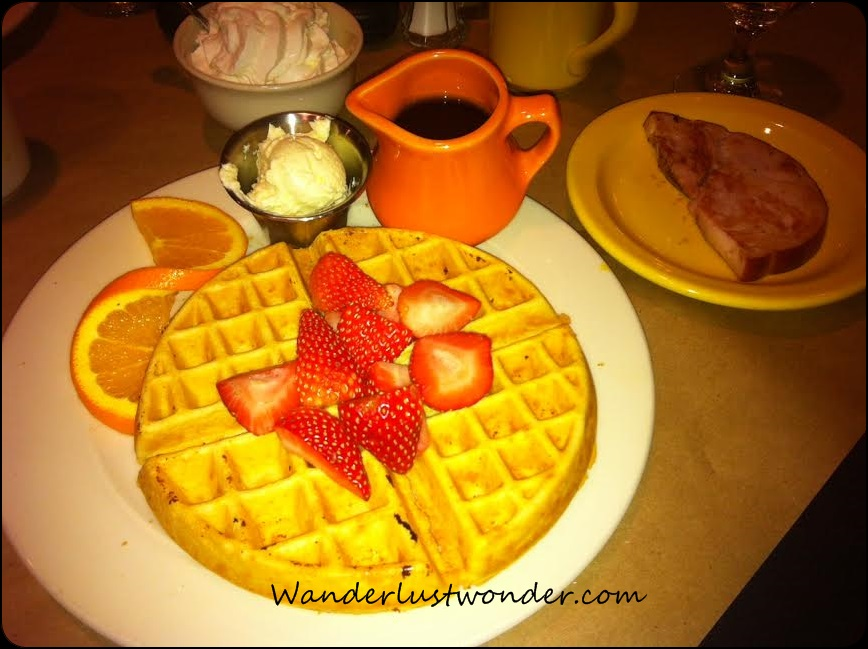 Waffles and ham - perfect!
