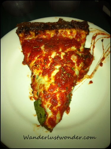 Pequod's pizza slice. Heavenly.