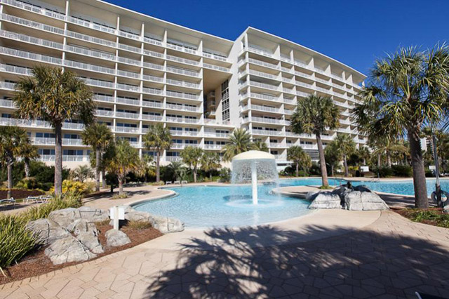 View of the condos from the pool. Photo courtesy of Sterling Resorts.