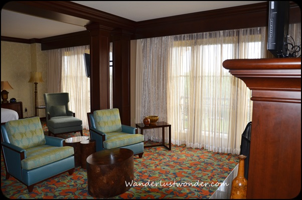 Sitting area in the bedroom of the Presidential Suite.