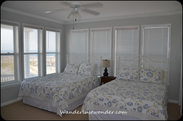 Bedroom with a beach view.