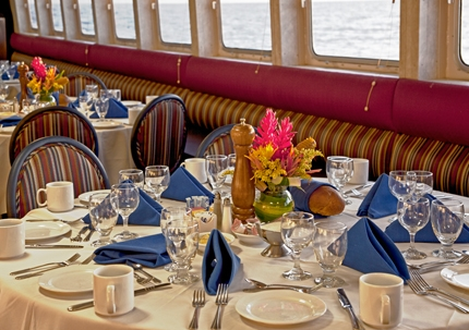 Great food in the Grande Caribe dining room. Photo courtesy of Blount Small Ship Adventures.
