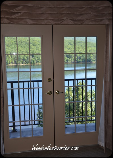 French doors to the suite balcony.