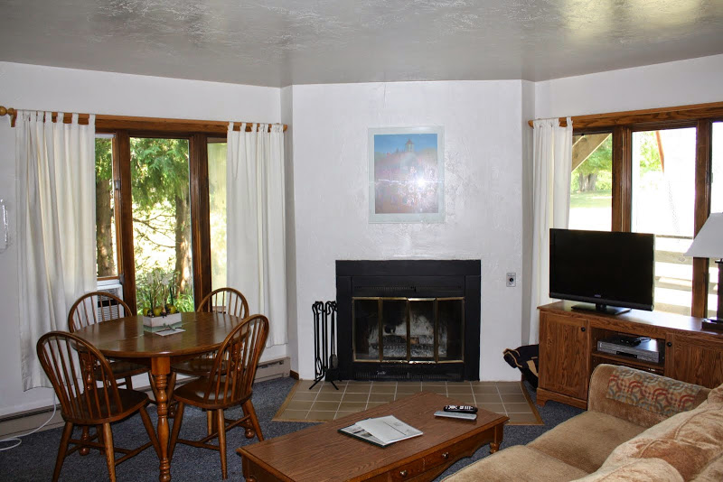 Flat screen television, fireplace - nice! Photo courtesy of Little Sister Resort.
