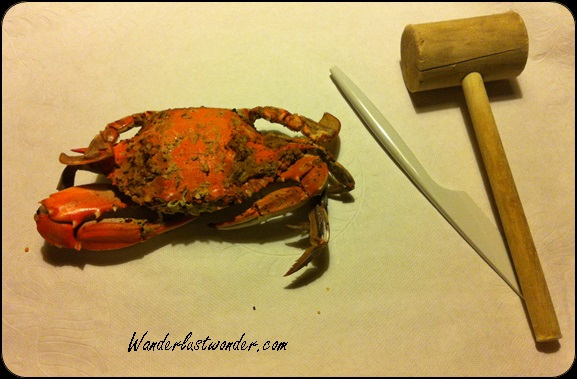 Crab and the utensils to get to the meat - a lot of work!
