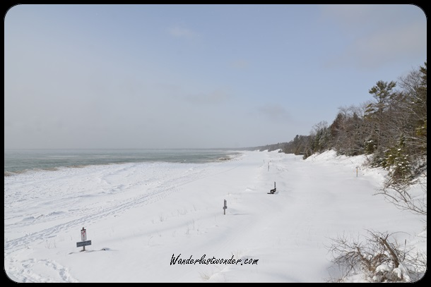 Whitefish Dunes State Park in the winter.