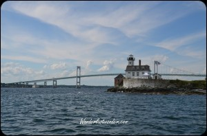 An old lighthouse and the bridge to the island.