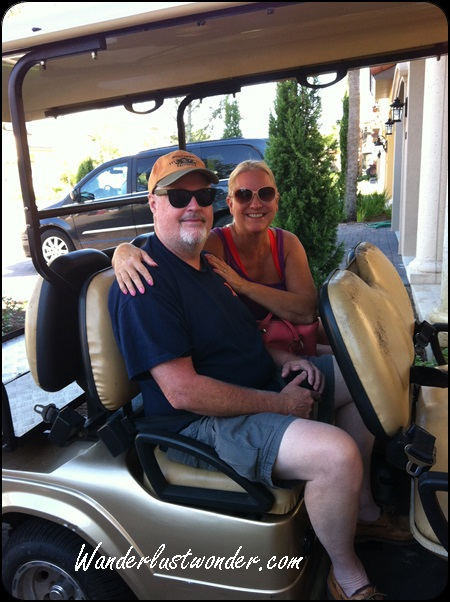 Tom and I getting geared up for an amazing golf cart ride.