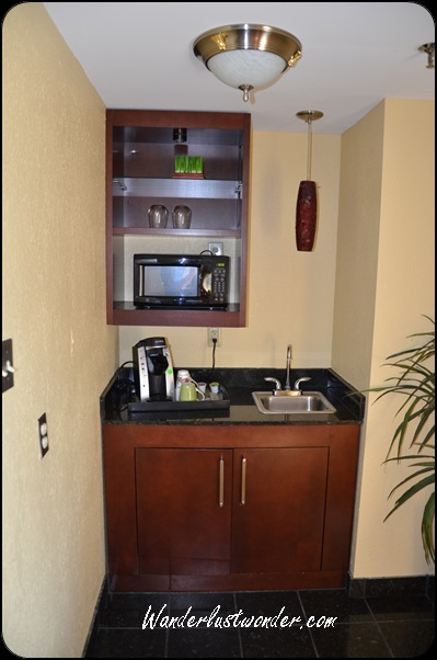 Kitchenette, complete with a Keurig coffee maker.