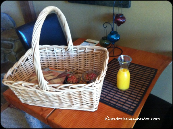 Our breakfast basket with fresh, cold juice.