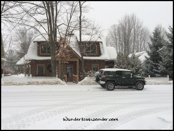 Our FJ Cruiser in front of our Michigan cottage.