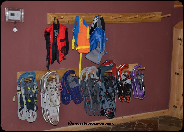 Plenty of snowshoes to choose.