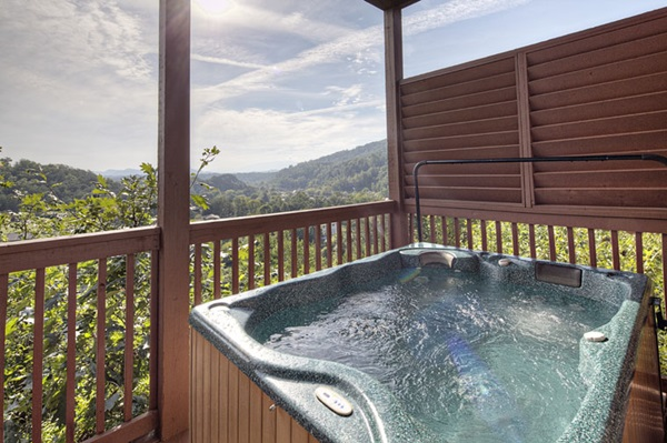 Hot tub complete with view.