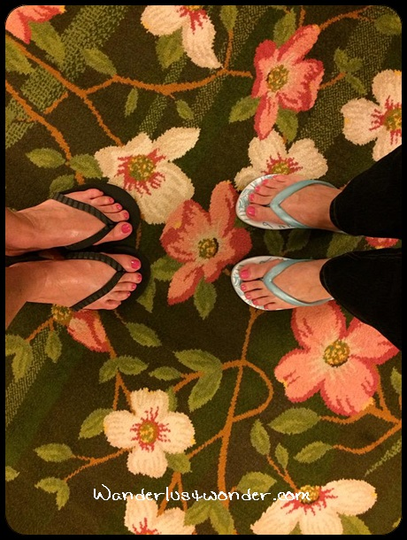 Our pretty toes on the pretty hotel carpet.