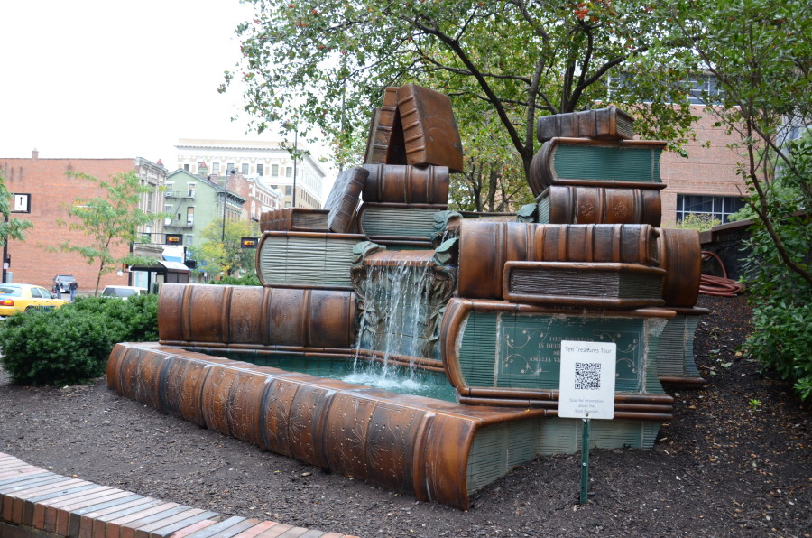Books statue at the Library